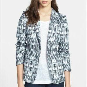JOIE 0 XS Gray White Ikat Linen Blazer Jacket